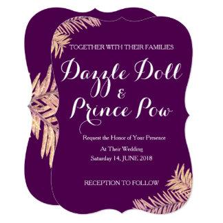 Plum rustic palm wedding invitation