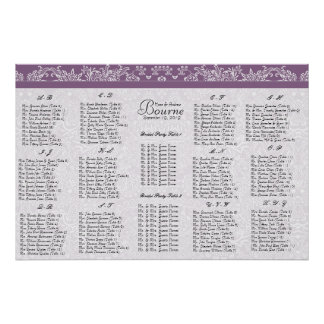 Plum Seating Chart Table Number-Alphabetical Order Poster