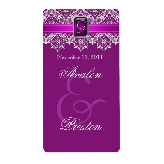 Plum & Silver Lace Jewelled Wedding Wine Label