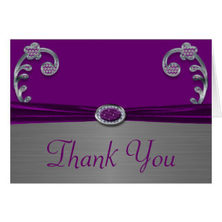 Plum & Silver Metallic Flourish Thank You Card