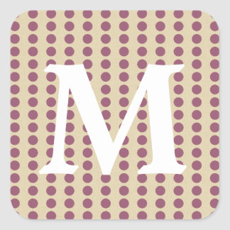 Plum Spice Moods Dots with Monogram Initial Square Stickers