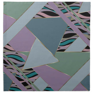 Plum Steel Moss Geometric WhimsicalArtwork™ Napkin
