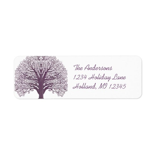 Plum Swirl Tree Return Address Return Address Label