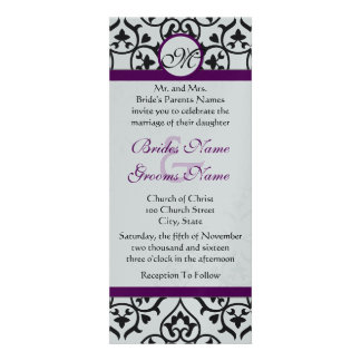 Plum Trim Black Damask Swirls Wedding Invitation