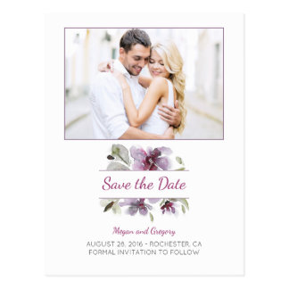 plum watercolor flowers sweet photo save the date postcard