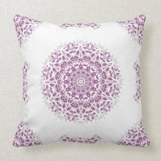 Plum White Floral Mandala Geometric Pattern Cushion