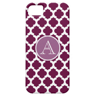 Plum White Moroccan Pattern, Monogram iPhone Case