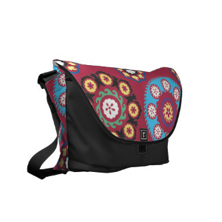 Plum With Colored Circles Messenger Bag