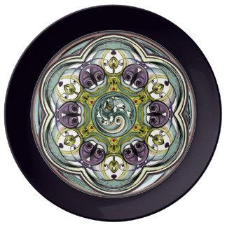 Plum Worlds Within Mandala Porcelain Plate