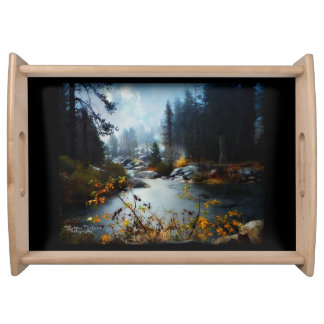 Plumas River in the Fall Serving Tray
