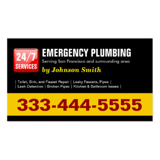 Plumber - 24 HOUR EMERGENCY PLUMBING SERVICES Pack Of Standard Business Cards