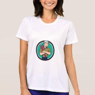 Plumber Arms Crossed Circle Cartoon T-Shirt