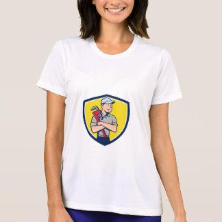 Plumber Arms Crossed Crest Cartoon T-Shirt