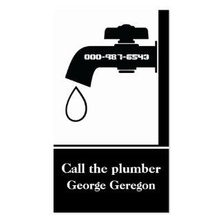 Plumber black white tap eye-catching plumbing business card