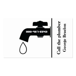 Plumber black white tap eye-catching plumbing pack of standard business cards