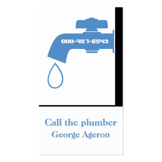 Plumber blue, white tap eye-catching plumbing pack of standard business cards