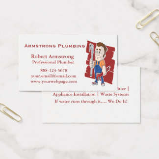 Plumber Caricature Pipe Wrench Business Card