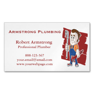 Plumber Caricature Pipe Wrench Magnetic Business Card