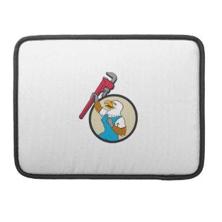Plumber Eagle Raising Up Pipe Wrench Circle Cartoo MacBook Pro Sleeves