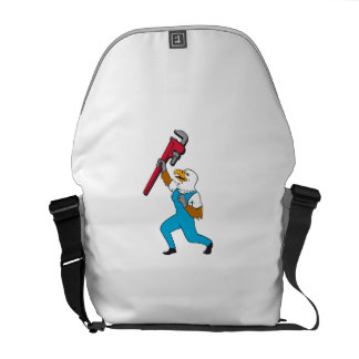 Plumber Eagle Standing Pipe Wrench Cartoon Courier Bag