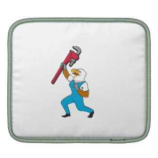 Plumber Eagle Standing Pipe Wrench Cartoon iPad Sleeve