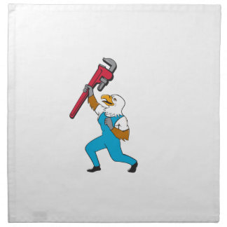 Plumber Eagle Standing Pipe Wrench Cartoon Napkin