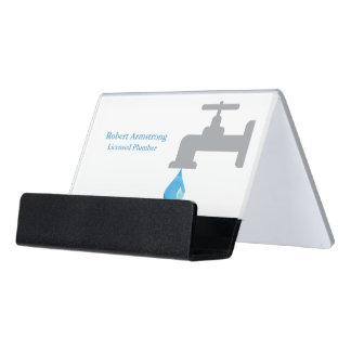Plumber Faucet Water Drop Desk Business Card Holder