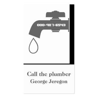 Plumber grey, white tap eye-catching plumbing business cards