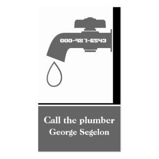 Plumber grey, white tap eye-catching plumbing pack of standard business cards