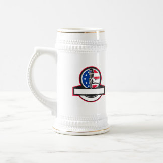 Plumber Hand Holding Pipe Wrench Flag Circle Banne Beer Stein