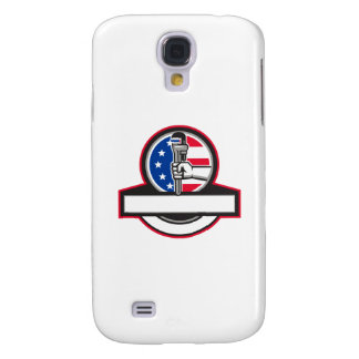 Plumber Hand Holding Pipe Wrench Flag Circle Banne Galaxy S4 Covers