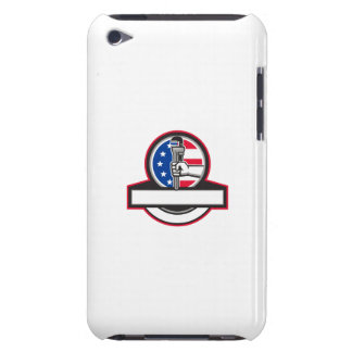 Plumber Hand Holding Pipe Wrench Flag Circle Banne iPod Touch Case