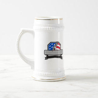 Plumber Hand Holding Pipe Wrench USA Flag Crest Re Beer Stein