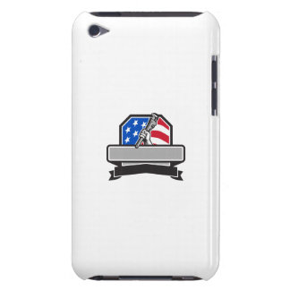 Plumber Hand Holding Pipe Wrench USA Flag Crest Re iPod Touch Case-Mate Case