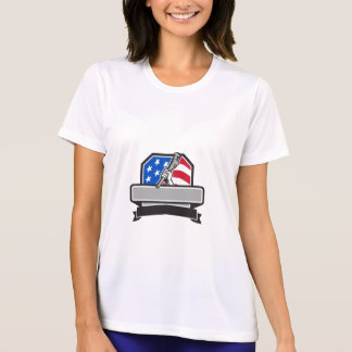 Plumber Hand Holding Pipe Wrench USA Flag Crest Re T-Shirt