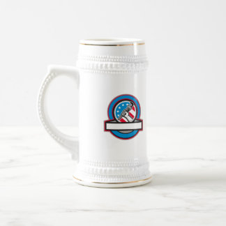Plumber Hand Pipe Wrench USA Flag Circle Beer Stein
