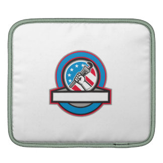 Plumber Hand Pipe Wrench USA Flag Circle iPad Sleeve