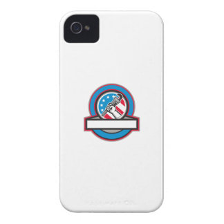 Plumber Hand Pipe Wrench USA Flag Circle iPhone 4 Covers