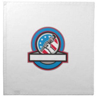 Plumber Hand Pipe Wrench USA Flag Circle Napkin