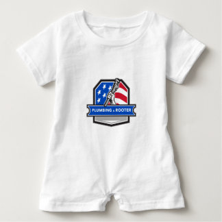 Plumber Hand Pipe Wrench USA Flag Crest Retro Baby Bodysuit
