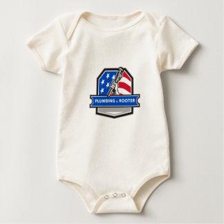 Plumber Hand Pipe Wrench USA Flag Crest Retro Baby Bodysuit