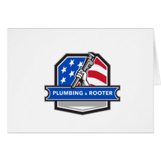Plumber Hand Pipe Wrench USA Flag Crest Retro Card