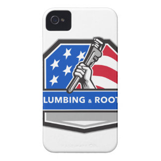 Plumber Hand Pipe Wrench USA Flag Crest Retro Case-Mate iPhone 4 Cases