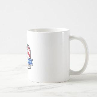 Plumber Hand Pipe Wrench USA Flag Crest Retro Coffee Mug
