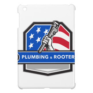 Plumber Hand Pipe Wrench USA Flag Crest Retro iPad Mini Cover