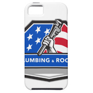 Plumber Hand Pipe Wrench USA Flag Crest Retro iPhone 5 Cover