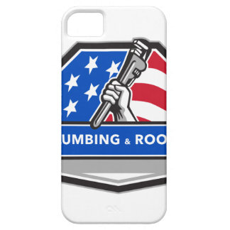 Plumber Hand Pipe Wrench USA Flag Crest Retro iPhone 5 Covers