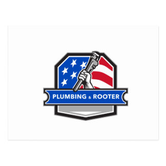 Plumber Hand Pipe Wrench USA Flag Crest Retro Postcard