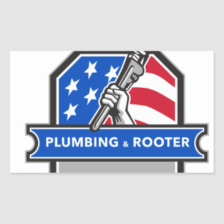 Plumber Hand Pipe Wrench USA Flag Crest Retro Rectangular Sticker