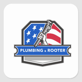 Plumber Hand Pipe Wrench USA Flag Crest Retro Square Sticker